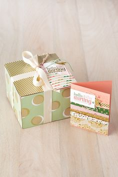 We love these projects made with the Hello Darling stamp set and the coordinating Gold Soiree designer series paper.