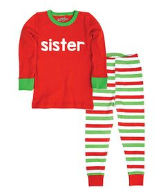 Look at this Red 'Sister' Pajama Set - Infant, Toddler & Girls on #zulily today!
