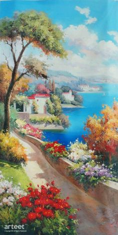 Colori Estivi, Art Painting / Oil Painting For Sale - Arteet™ Landscape Drawings, Watercolor Landscape, Landscape Art, Landscape Paintings, Watercolor Paintings, Oil Paintings, Landscapes, Art Paintings For Sale, Oil Painting For Sale