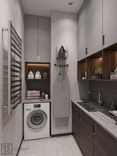 Get onboard with the wood slat wall trend with this luxurious home interior; featuring wood slat dividing walls, wall panel design and wood ceiling ideas. Laundry Room Design, Home Room Design, Bathroom Interior, Interior Design Living Room, Modern Laundry Rooms, Laundry Room Layouts, Laundry Room Storage, Utility Room Designs, Wood Slat Wall