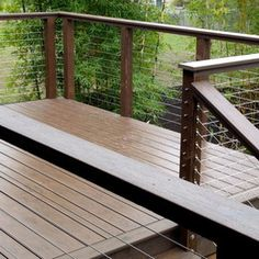 modern mesh fence with wood - Google Search