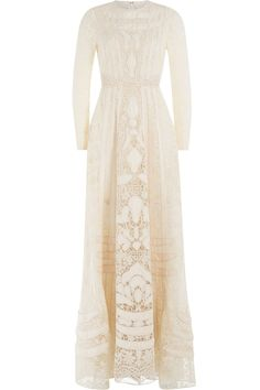 Valentino - Embellished Lace FLoor Length Gown