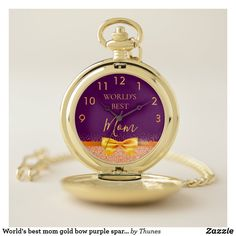 World's best mom gold bow purple sparkle rose gold pocket watch. Christmas gift for your mother. Purple Sparkle, Purple Gold, Gold Pocket Watch, Gold Watch, Make A Gift, Great Gifts, Purple Names, Personalized Pocket Watch, Gifts For Your Sister