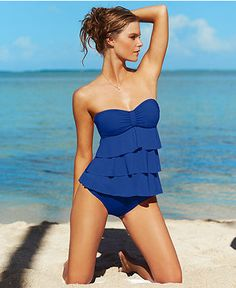 Kenneth Cole Reaction Swimsuit, Tiered Ruffle Tankini Top & Hipster Brief Bottom - Womens Swimwear - Macy's