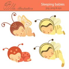 This adorable Sleeping babies clipart comes with 4 clipart graphics featuring  baby-girls sleeping in costumes of bee, butterfly and ladybird .