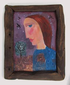 The Almond Tree, original painting with collage texture in a hand made wooden frame by SharonMarieWinter on Etsy