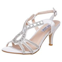 online shopping for SheSole Womens Low Heel Rhinestone Strappy Sandals Dance Dress Shoes from top store. See new offer for SheSole Womens Low Heel Rhinestone Strappy Sandals Dance Dress Shoes Rhinestone Wedding Shoes, White Bridal Shoes, Bridal Wedding Shoes, Wedding Shoes Heels, Rhinestone Sandals, Rhinestone Dress, White Shoes, Dress Wedding, Dress And Heels