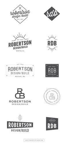 Logo design variations for Robertson Design via Salted Ink