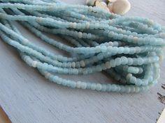 blue seed bead matte blue glass beads barrel beads by yukidesigns