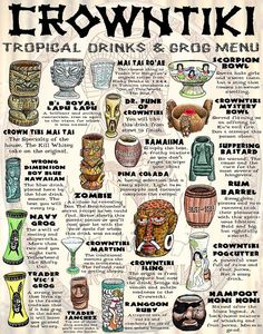 directly thieved from the Mai Kai, Trader Vic& and Trader Dick& Drink Menu, Bar Drinks, Drink List, Beverages, Tiki Restaurant, Happy Hour, Tiki Art, Tiki Tiki, Tiki Hawaii