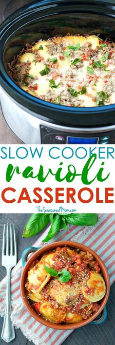 Easy Slow Cooker Recipes like this Ravioli Casserole are a busy mom's best friend! Prep the ingredients ahead of time and a cozy, family-friendly dinner will be ready and waiting for you at the end of the day!