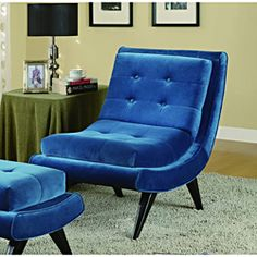 Armless Cerulean Blue Fabric Swayback Lounge Chair - Overstock™ Shopping - Great Deals on Armen Living Living Room Chairs Ottoman Furniture, Design Furniture, Chair And Ottoman, Home Furniture, Modern Furniture, Velvet Furniture, Studio Furniture, Dream Furniture, Chair Cushions