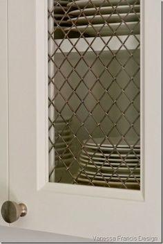 wire mesh over glass? Granite Kitchen, Kitchen Cabinetry, Kitchen Reno, Kitchen And Bath, New Kitchen, Kitchen Remodel, Kitchen Design, Cabinets, Kitchen Walls