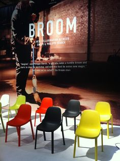 """Emeco and Phillipe Starck collaborated to create the eco-friendly """"Broom"""" chair, made from post-industrial waste."""