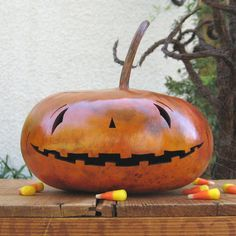 Halloween Jack O Lantern Gourd Fall Natural by pinchmeboutique, $18.00
