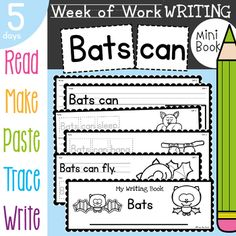 Bats Writing Activities for Kindergarten and First Grade Pre Kindergarten, Kindergarten Activities, Writing Activities, Teaching Resources, Writing Lines, Writing A Book, Nocturnal Animals, Writing Process, Sight Words