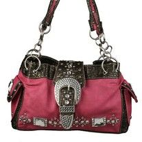 $40 - Pink  Smooth faux leather  Croc Trim  Genuine rhinestone & stud details  Measures 13.5 x 8 x 6  Two outer pockets  Double shoulder straps with chain handles