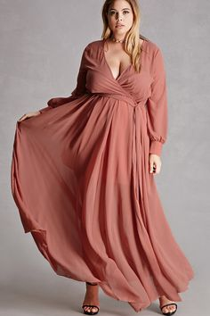 Forever 21+ - A crepe woven maxi dress featuring a surplice neckline, a knit mini skirt underlay, self-tie at the back waist, concealed side zipper, and long buttoned cuff sleeves. This is an independent brand and not a Forever 21 branded item.