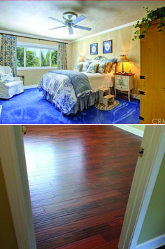 "Bedroom Before & After with Golden Acacia: ""Replaced carpet with 1/2"" engineered flooring in three bedrooms, including walk-in closets."""