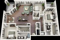 3D open floor plan 3 bedroom 2 bathroom - Google Search: