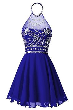 Oumans Women's Halter Beaded Homecoming Dress Short Prom Dress Open Back Red us4: Amazon.ca: Clothing & Accessories