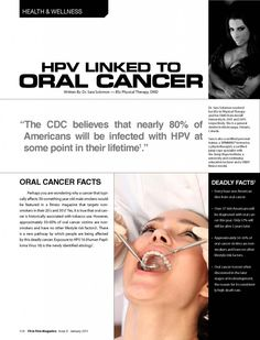 """Read Dr. Sara Solomon's article, """"HPV Linked to Oral Cancer: by clicking here:  http://www.drsarasolomon.com/hpv-linked-to-oral-cancer/#"""
