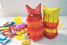 Kitty Pinata Made From A Cardboard Roll
