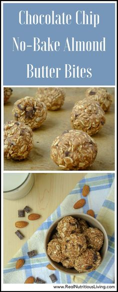 Chocolate Chip No-Bake Almond Butter Bites - These are so easy to whip and don't require any baking! Make a big batch to munch on all week long. Get more recipes at www.realnutritiousliving.com #nobakecookies #glutenfree