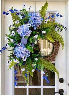 Hydrangea Wreath, Sunflower Wreaths, Blue Hydrangea, Floral Wreath, Lemon Wreath, Summer Wreath, Spring Wreaths, Year Round Wreath, Flower Branch