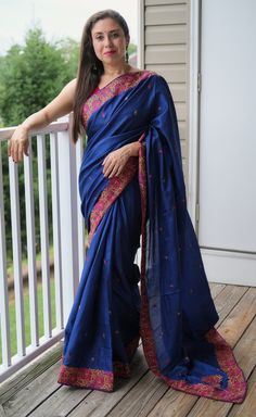 Semi Tussar Kashmiri Embroidered Saree in Blue and Pink Tussar Silk Saree, Mulberry Silk, Sari, Photoshoot, Pink, Blue, Collection, Fashion, Saree