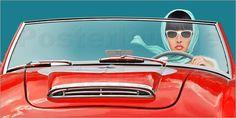 Poster: Die Cabrio Fahrerin - Romantic Wall Art by Mausopardia - Romantische Wandbilder von Mausopardia bei Posterlounge!