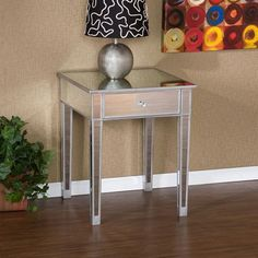 Silver Mirage Mirrored Accent Table