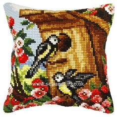 Buy+Birds+in+Birdhouse+Cushion+Front+Chunky+Cross+Stitch+Kit+Online+at+www.sewandso.co.uk