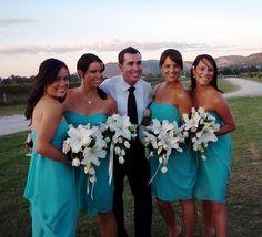 #Tiffany Blue Wedding ... tiffany blue and black bridesmaid dresses - Google Search