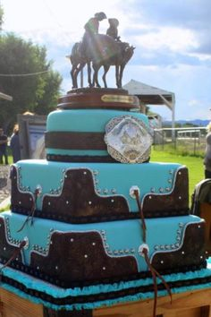 241 best Western wedding cakes images on Pinterest   Cake wedding     Western wedding cake   turquoise  tooled leather   buckle www facebook com