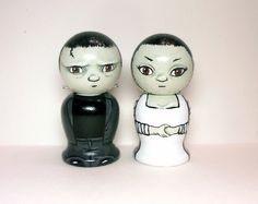 Frankenstein and Bride Wedding Cake Toppers Wooden by licoricewits, $52.00
