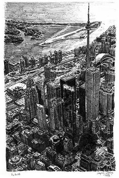 Toronto Skyline - drawings and paintings by Stephen Wiltshire MBE Stephen Wiltshire, Autistic Artist, City Drawing, Toronto Skyline, Names Of Artists, Amazing Drawings, Urban Sketching, Illustration, Art Gallery