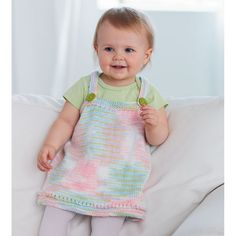 Baby Jumper Dress Free knitting pattern - Make this adorable knit baby little jumper for your child or give as a gift! (aff link)