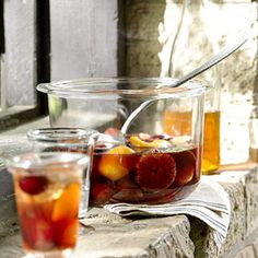 Autumn Sangria More intensely flavored than summertime sangria, this wintry version includes a mix of fresh and dried fruit along with sparkling cider.