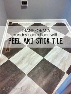 Transform a Laundry Room Floor with Peel and Stick Tiles! This budget-friendly project can be done in a day, and transform your space! DIY beautify