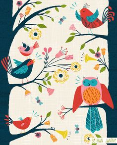 'Bird Song' by Bethan Janine. She has some awesome prints, and some of them you can get as wallpaper!