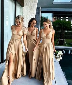 Champagne V-Neck Long Bridesmaid Dress with Split by DRESS, $159.00 USD