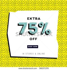 Abstract sale banner in retro 1980s and early 1990 s style. Surprise sale. Web banner or poster for e-commerce, on-line cosmetics shop, fashion & design store. Vector illustration.