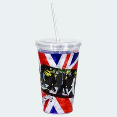 The Beatles Abbey Road 16 oz. Travel Cup with Straw Spoontiques Beatles Travel Cups Insulated Cups, Cup With Straw, Travel Cup, Cool Mugs, Abbey Road, Union Jack, Cold Drinks, Drink Bottles, The Beatles
