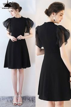 Shop Chic Black Short Formal Party Dress with Puffy Sleeves online. SheProm offers formal, party, casual & more style dresses to fit your special occasions. Modest Homecoming Dresses, Dresses Short, Trendy Dresses, Modest Dresses, Casual Dresses, Fashion Dresses, Formal Dresses, Party Dresses, Dress Party