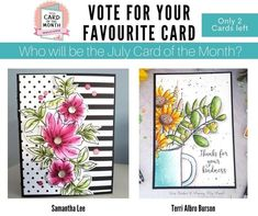 @CSMscrapbooker posted to Instagram: We need YOUR VOTE! Which card will be crowned JULY CARD OF THE MONTH?!?!?  Pop on over to our profile and click on the smart.bio/csmscrapbooker for a direct link to VOTE VOTE VOTE!  Good luck to both Samantha Lee and Terri Albro Burson for designing these gorgeous cards!   #csmscrapbooker #creativescrapbookermagzine #creativescrapbooker #createeveryday #creative #scrapbookingideas #scrapbookingandcards #scrapbookingmagazine #visualcrush #photosinbetween… We Need You, Your Cards, Card Making, Thankful, Profile, Stamp, Scrapbook, Pop, Create
