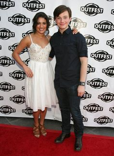 Pin for Later: Lea Michele's Life Is Full of Famous Friendships Lea and her close castmate Chris Colfer posed together on the red carpet at the Gay and Lesbian Film Festival in LA in July Glee Cory Monteith, Rachel Berry, Perfect Smile, Chris Colfer, Lea Michele, Bridesmaid Dresses, Wedding Dresses, Film Festival, Photo Galleries