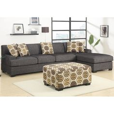 Ash Black Linen Sectional Set | Overstock.com Shopping - The Best Deals on Sectional Sofas