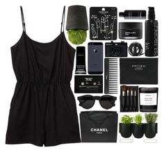 """Dark paradise"" by klajus ❤ liked on Polyvore featuring Monki, Illesteva, The Body Shop, Chanel, Authentics, Byredo, Topshop, Acne Studios, Sephora Collection and Urbanears"