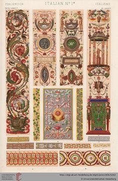 Tafel LXXXVIa. Italian Plate (1 of 6).  Owen Jones, The Grammar of Ornament.  Thanks to the University of Heidelberg digital library.
